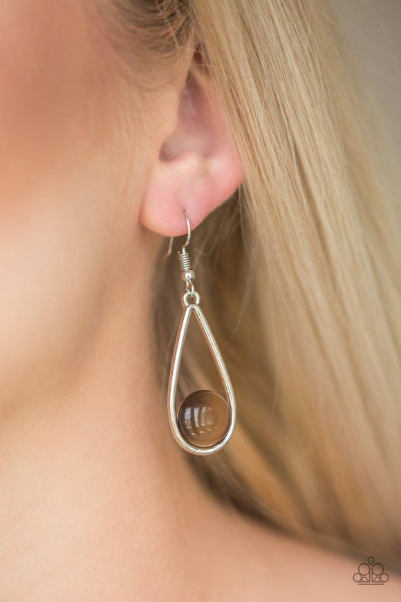 Over The Moon - Brown Earrings - Paparazzi Accessories