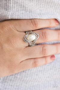 Positively Posh - White Ring - Paparazzi Accessories