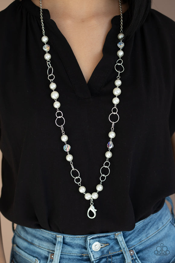 Prized Pearls - White Lanyard - Paparazzi Accessories