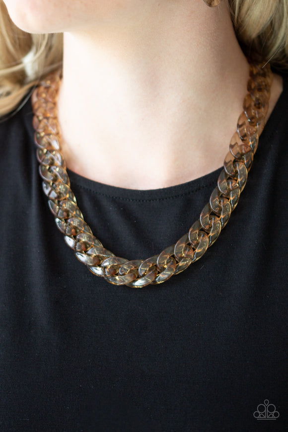 Put It On Ice - Brass Necklace - Paparazzi Accessories