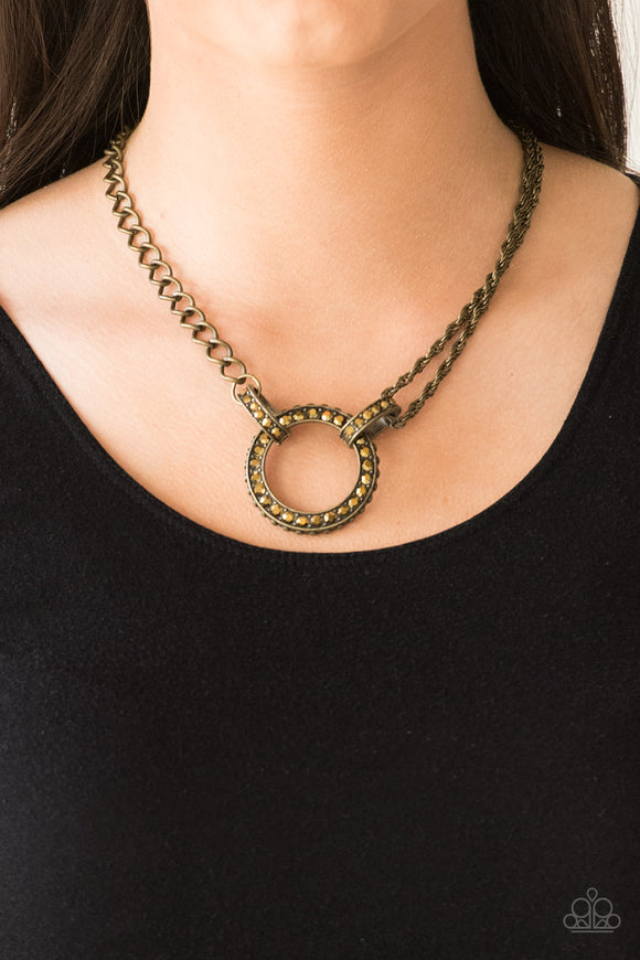 Razzle Dazzle - Brass Necklace - Paparazzi Accessories