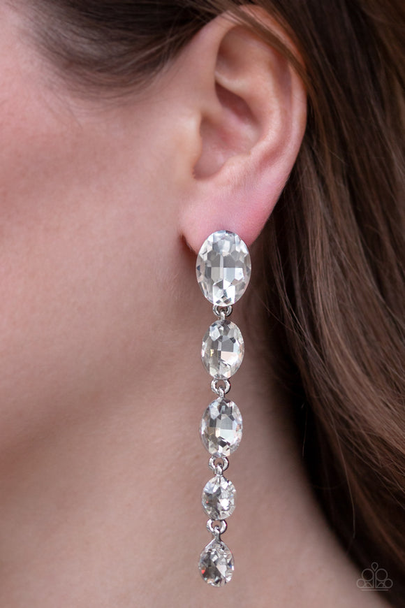 Red Carpet Radiance - White Earrings - Paparazzi Accessories