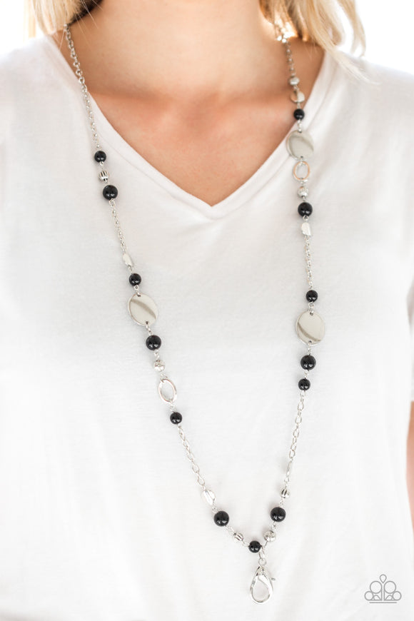 Serenely Springtime - Black Lanyard - Paparazzi Accessories