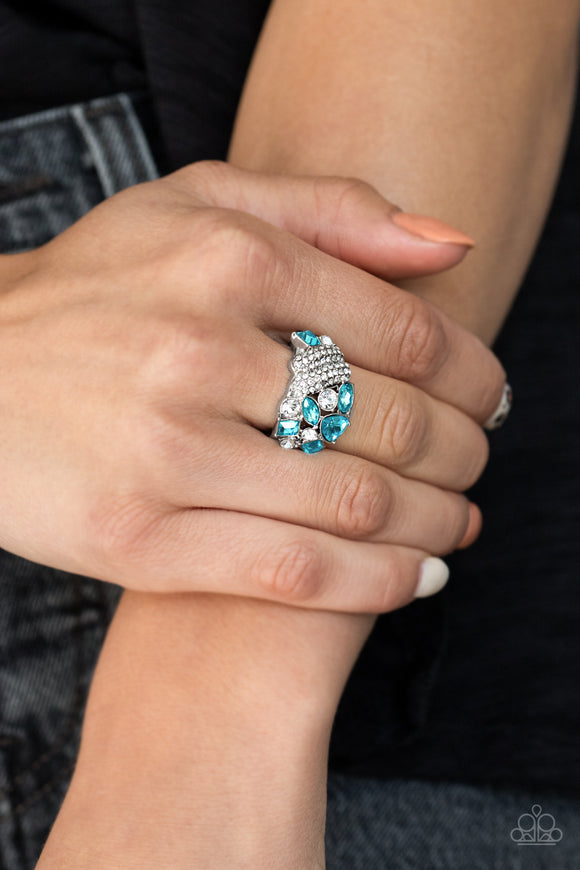 Sparkle Bust - Blue Ring - Paparazzi Accessories