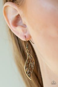 Sparkling Stems - Brass Earrings - Paparazzi Accessories