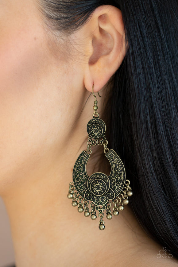 Sunny Chimes - Brass Earrings - Paparazzi Accessories