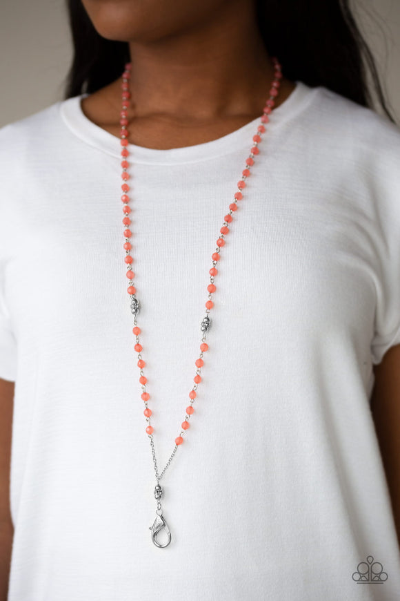 Tassel Takeover - Orange Lanyard - Paparazzi Accessories