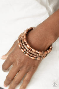 Texture Throwdown - Copper Bracelet - Paparazzi Accessories