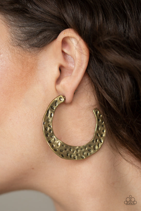 The HOOP Up - Brass Earrings - Paparazzi Accessories