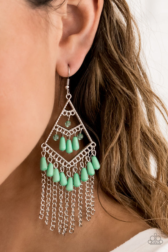 Trending Transcendence - Green Earrings - Paparazzi Accessories