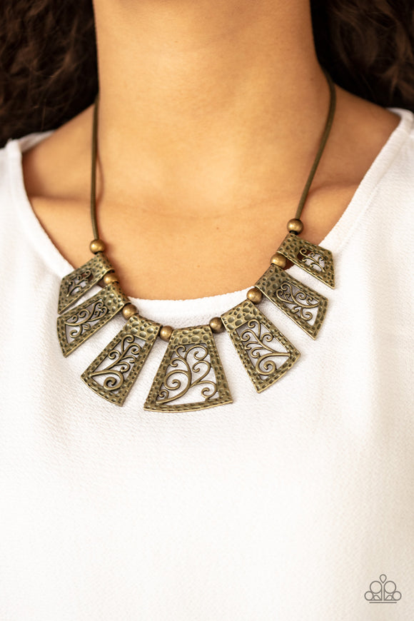 Vintage Vineyard - Brass Necklace - Paparazzi Accessories