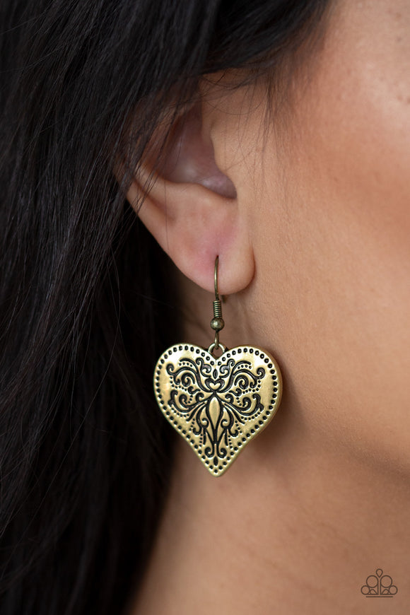 Western Heart - Brass Earrings - Paparazzi Accessories