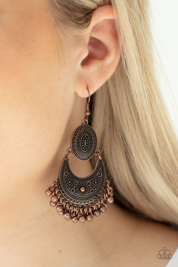 Western Trails - Copper Earrings - Paparazzi Accessories