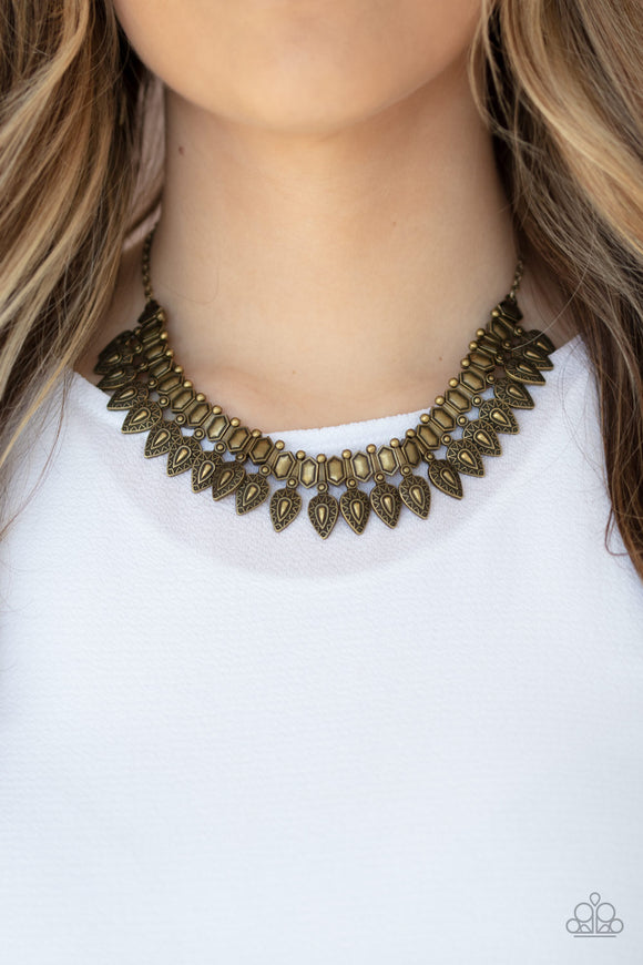 When The Hunter Becomes The Hunted - Brass Necklace - Paparazzi Accessories