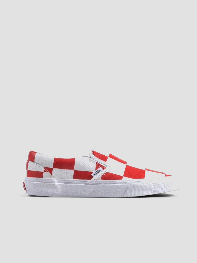 Leather Check Classic Slip On Sneakers