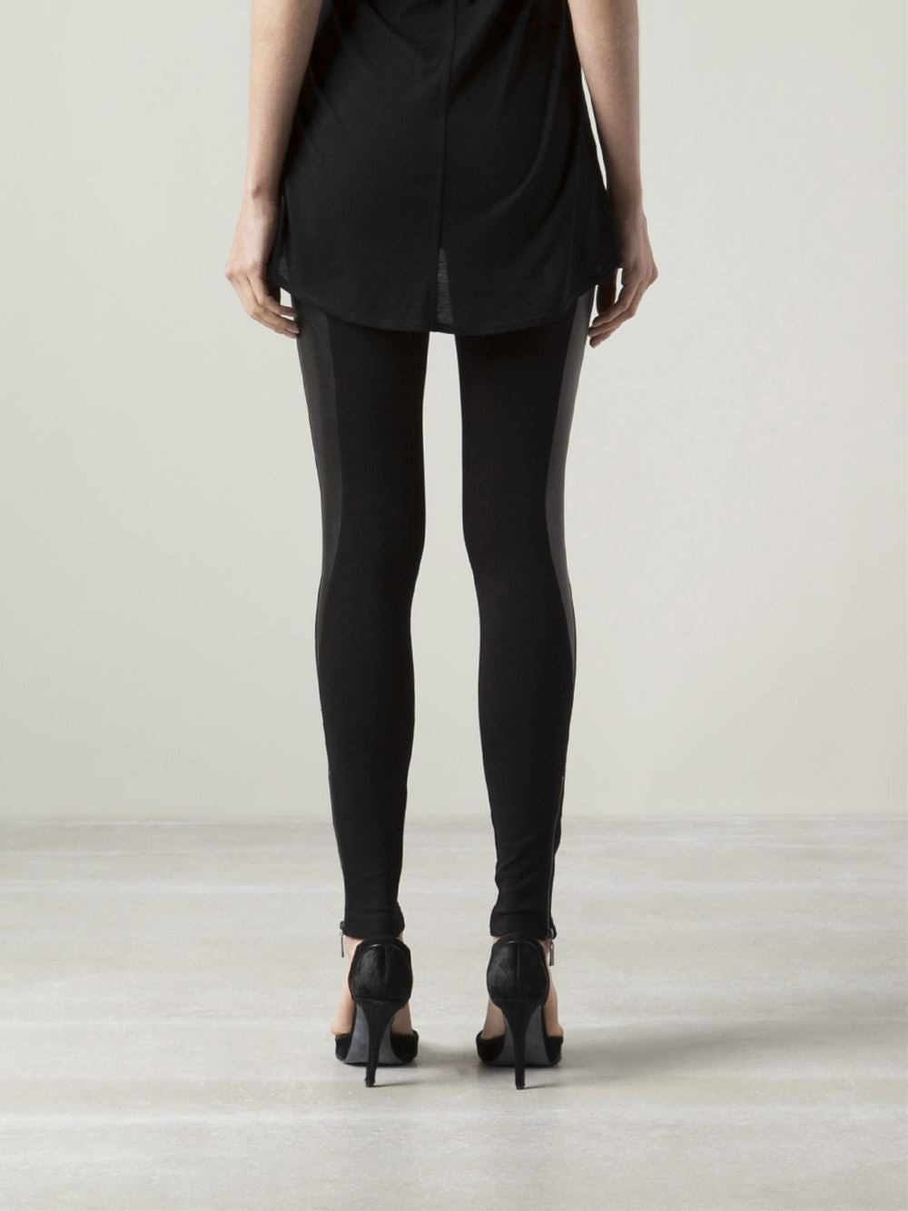 GETTING BACK TO SQUARE ONE Zip Leggings with Leather Panels