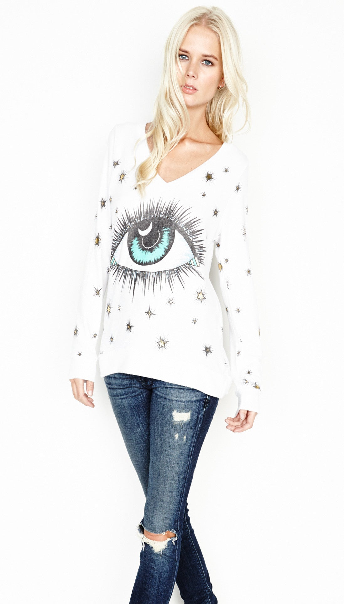 Lauren Moshi ELEANOR-V-NECK Sweatshirt In White