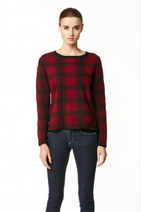 360 Cashmere PALOMA Pullover Sweater In OXBLOOD/BLACK