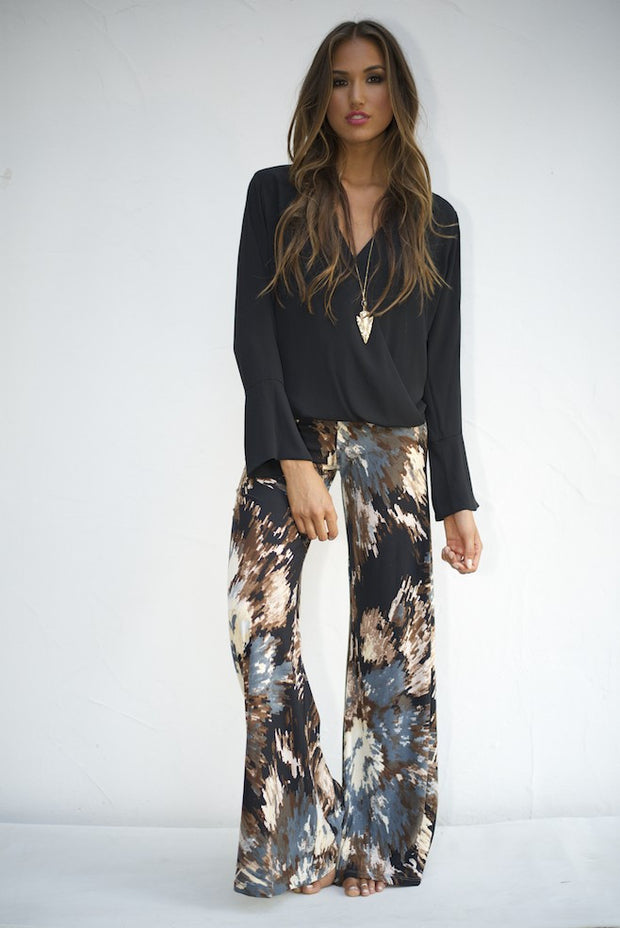 Veronica M Wide Leg Pants no pocket In Archer Print