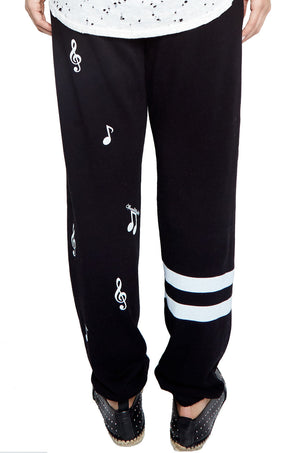 GIA ALLOVER MUSIC NOTES LONG SWEATPANT W/REVERSE W/B