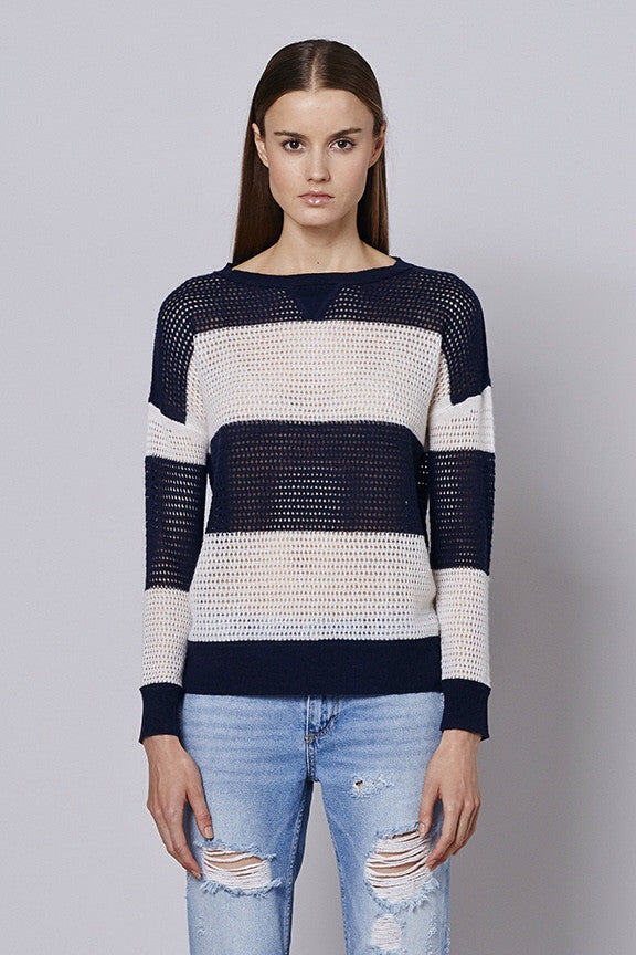 360 Sweater ROBYN Rugby stripe crew neck pullover