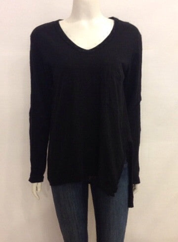 Wilt V Neck Raw Slouchy Slit Pocket Long Sleeve In Black