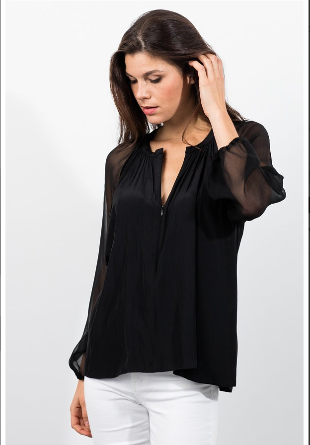 ZIP NECK PEASANT TOP