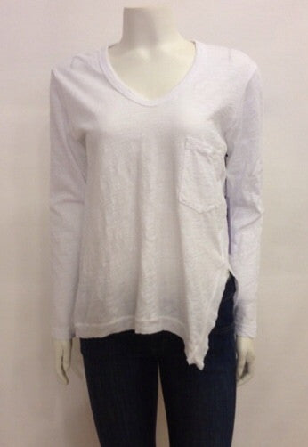 Wilt V Neck Raw Slouchy Slit Pocket Long Sleeve In White