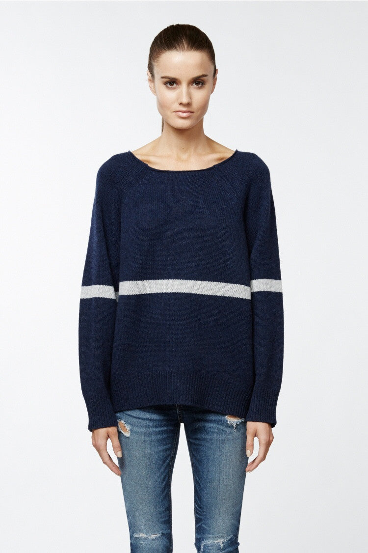 360 Sweater Cortland in Ink With Light Heather Grey Stripe