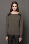 360 sweater persi Color block raglan sleeve cashmere sweater In Army/Cinder