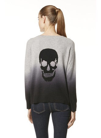 Skull Cashmere DIP Pullover In MID HEATHER GREY / CHARCOAL