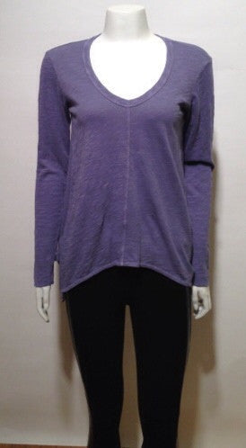 wilt Slouchy Long Sleeve Gusset Tee In Vintage Purple