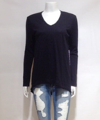 Wilt Slub Long Sleeve Raw hem Boyfriend T Shirt In Black