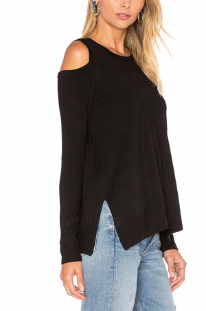 BRIGHTON COLD SHOULDER SWEATER IN BLACK