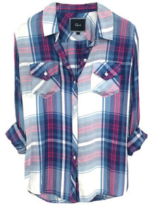 Rails Carmen Long Sleeve Button Down in Blue/Magenta