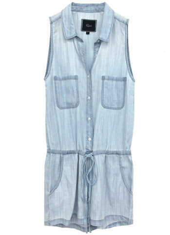 Rails Fiona sleeveless jumper with collar In Cloud Wash