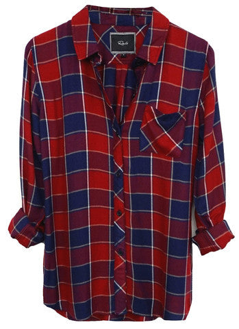 Rails Hunter Long Sleeve Button Down in Crimson/Dusk