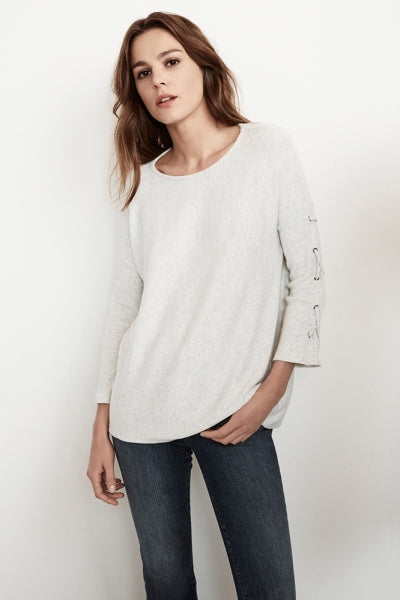 CLIONA COZY RIB LACE UP SLEEVE TO