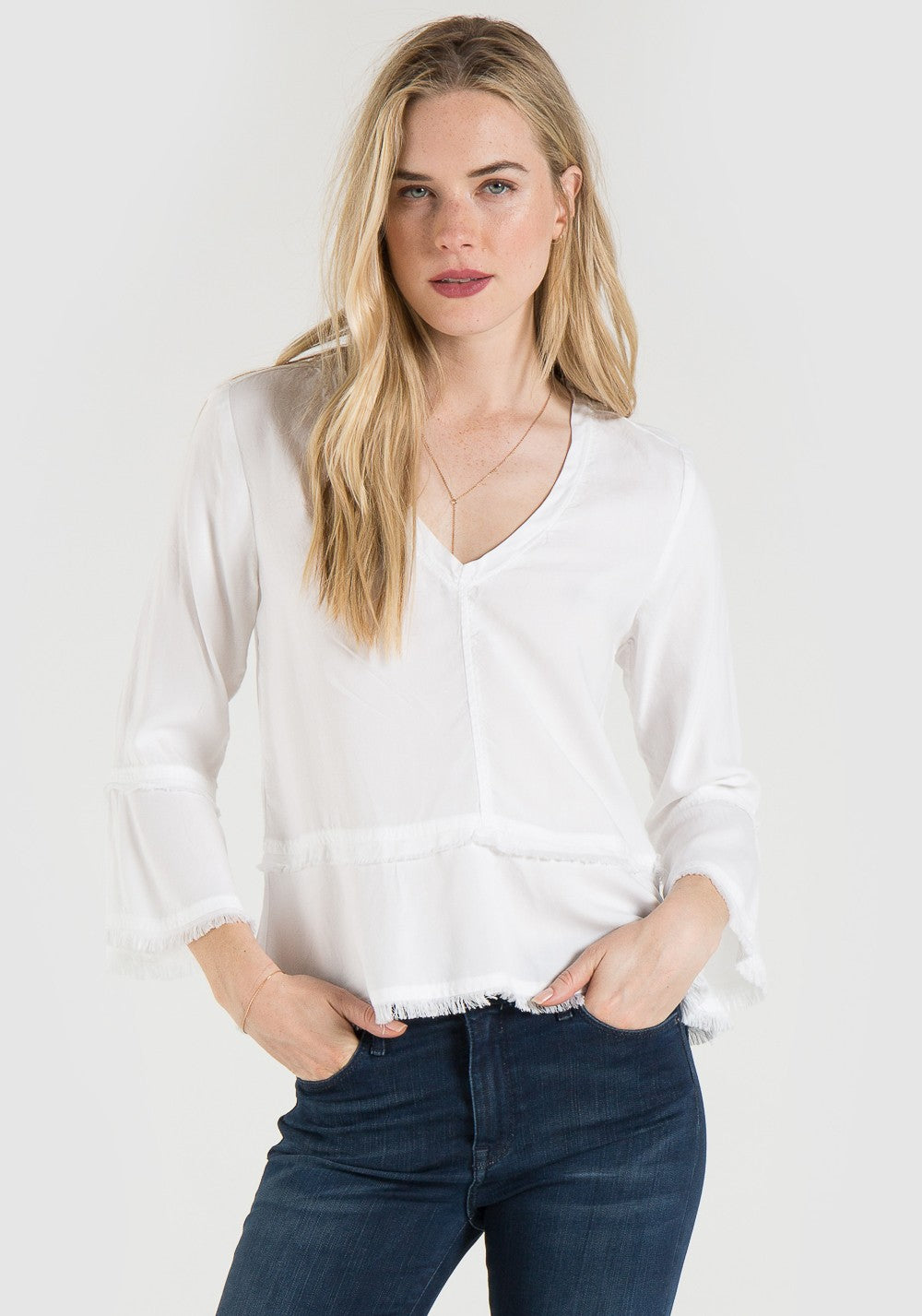 Frayed Bell Sleeve Top