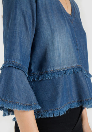 Frayed Bell Sleeve Top In denim