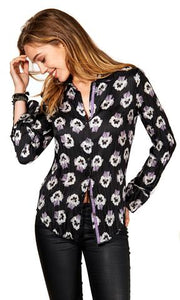 BLACK PANSIES SHIRT