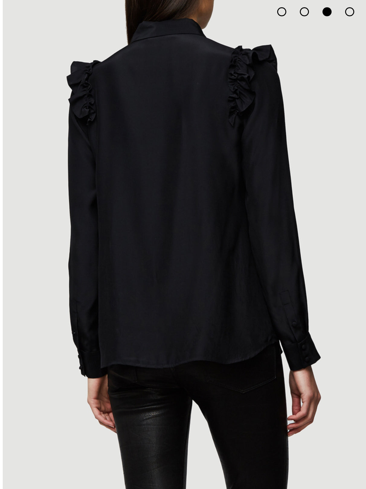 Ruffle Long Sleeve Silk Blouse