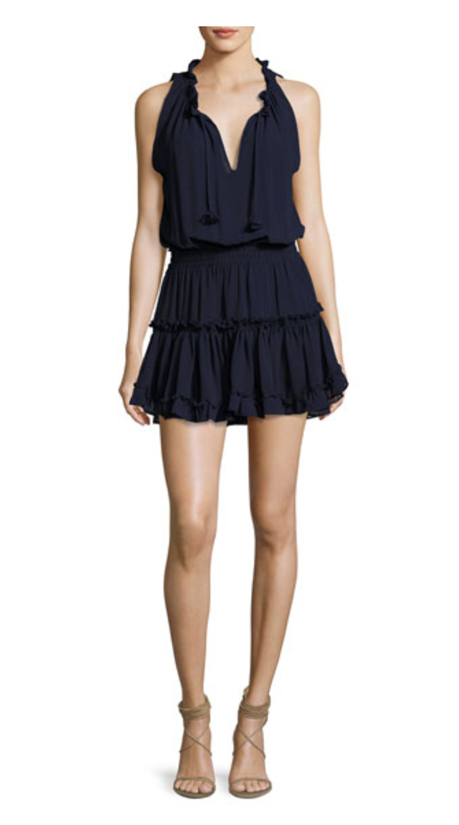 Shirley Sleeveless Ruffled Mini Dress, Navy
