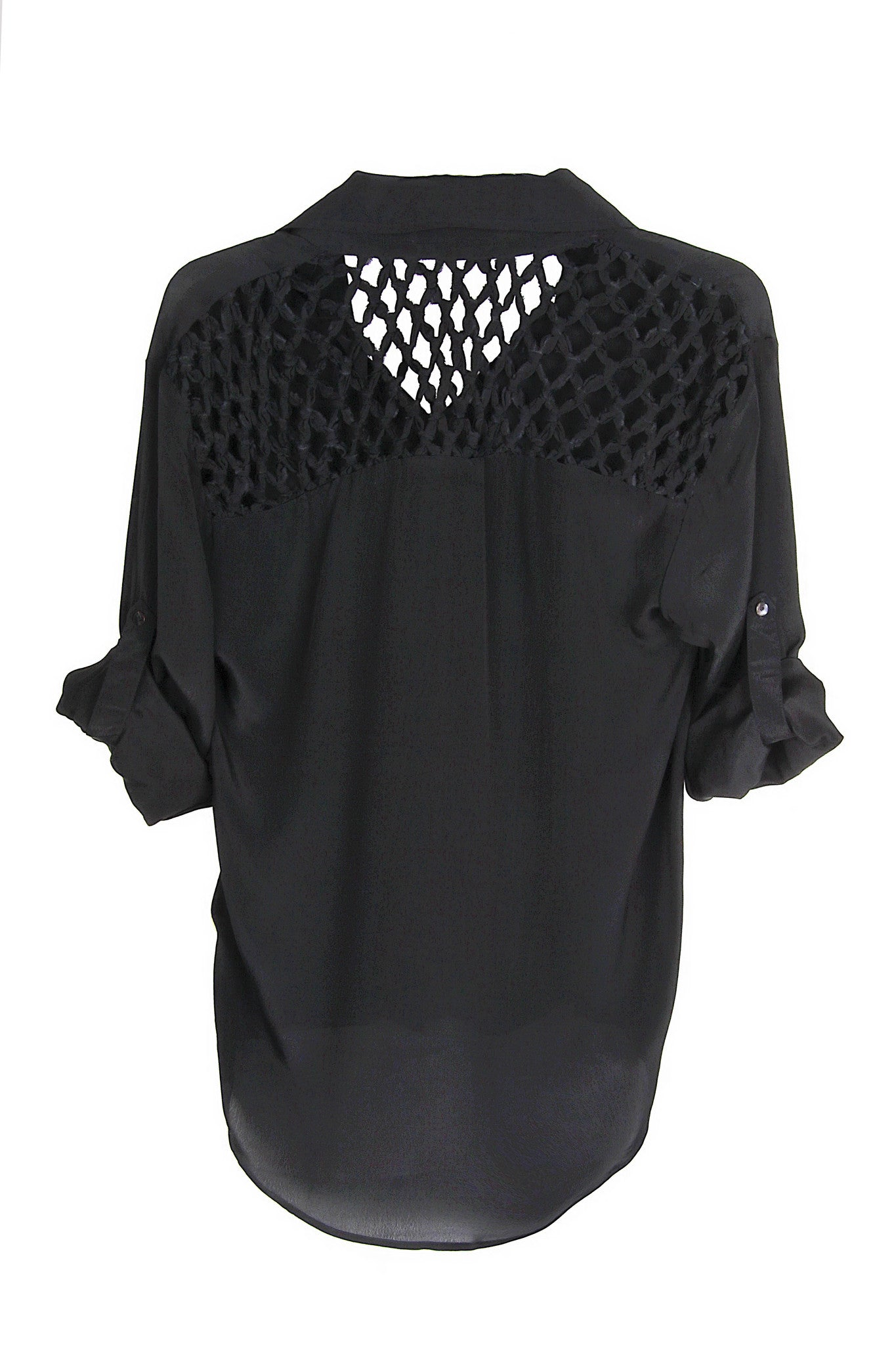 Chelsea flower Macrame Yoke Bottondown Blouse in black