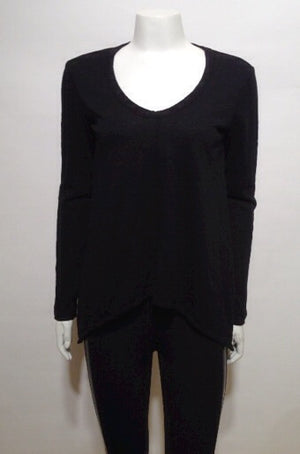wilt Slouchy Long Sleeve Gusset Tee In black