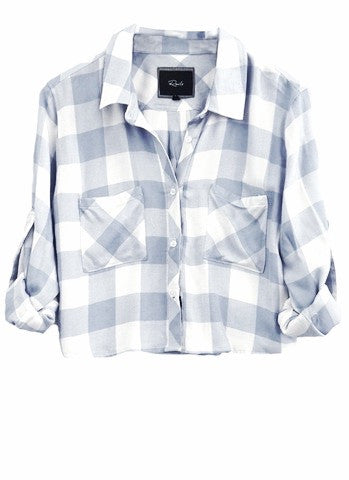 Rails Rian Cropped Long Sleeve Button Down Shirt in Periwinkle/White Check