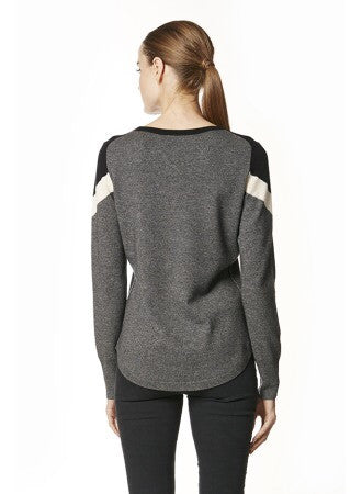 360 Cashmere EBBA Pullover sweater In GRAPHITE / BLACK / CHALK