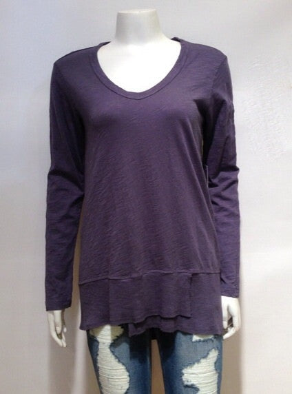 Wilt Long Sleeve V Neck Mixed Slouchy In Smog