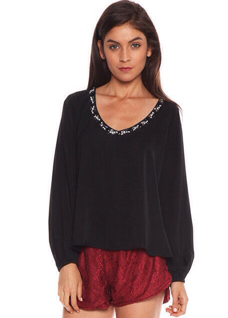 Lovers + friends Daydream Blouse with Rhinestone Trim in black