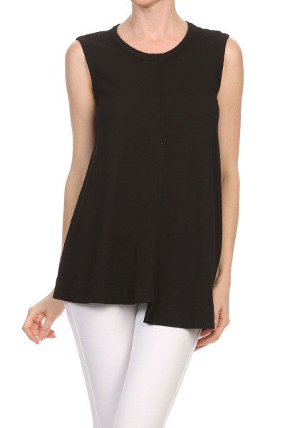 WILT SLUB JERSEY SHIFTED TRAPEZE TANK IN BLACK